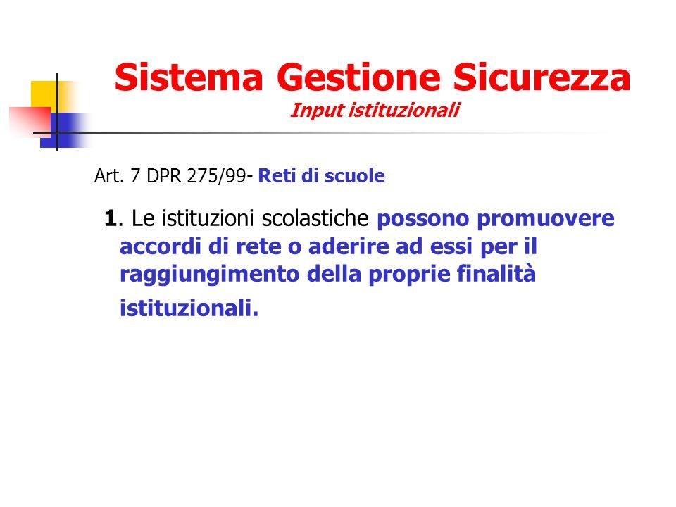 Sistema Gestione Sicurezza Input istituzionali Comma 2.