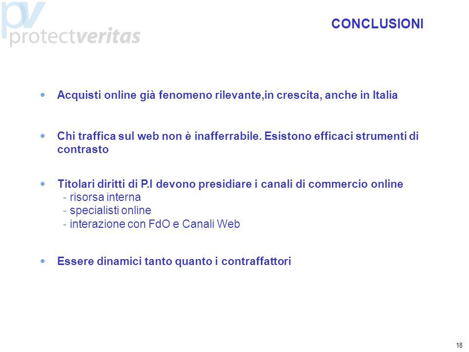 18 Acquisti online già fenomeno rilevante,in crescita, anche in Italia CONCLUSIONI Chi traffica sul web non è inafferrabile. Esistono efficaci strumen