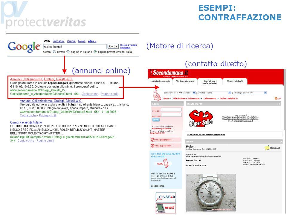 8 (Motore di ricerca) (annunci online) (contatto diretto) ESEMPI: CONTRAFFAZIONE
