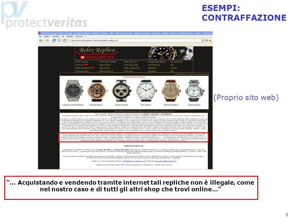 9 (Proprio sito web) ESEMPI: CONTRAFFAZIONE … Acquistando e vendendo tramite internet tali repliche non è illegale, come nel nostro caso e di tutti gl