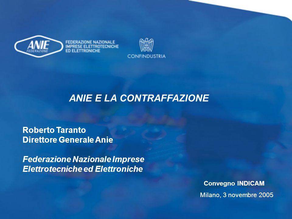0 ANIE E LA CONTRAFFAZIONE Roberto Taranto Direttore Generale Anie Federazione Nazionale Imprese Elettrotecniche ed Elettroniche Convegno INDICAM Milano, 3 novembre 2005
