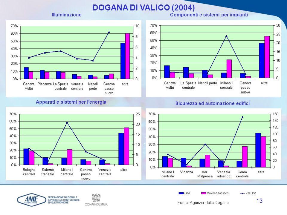 12 DOGANA DI VALICO (2004) Apparecchi domesticiComponenti elettronici Apparati e sistemi ICT Elettronica di consumo Fonte: Agenzia delle Dogane