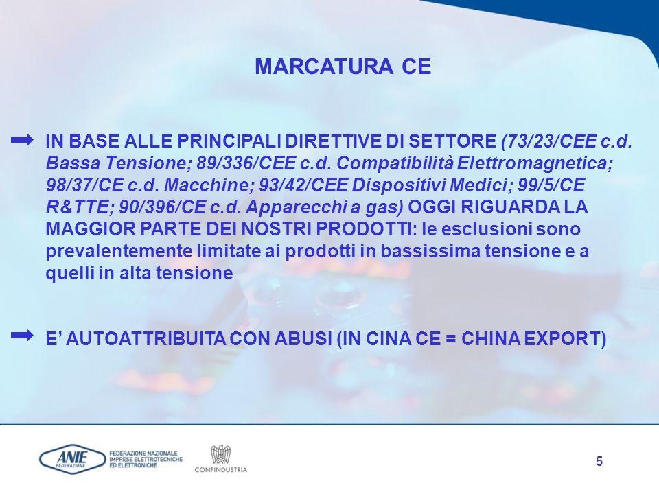 5 MARCATURA CE IN BASE ALLE PRINCIPALI DIRETTIVE DI SETTORE (73/23/CEE c.d.