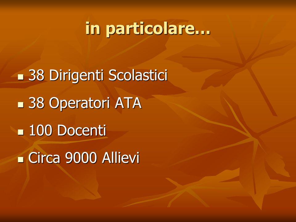 in particolare… 38 Dirigenti Scolastici 38 Dirigenti Scolastici 38 Operatori ATA 38 Operatori ATA 100 Docenti 100 Docenti Circa 9000 Allievi Circa 9000 Allievi