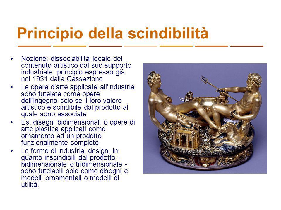 Principio della scindibilità Nozione: dissociabilità ideale del contenuto artistico dal suo supporto industriale: principio espresso già nel 1931 dall