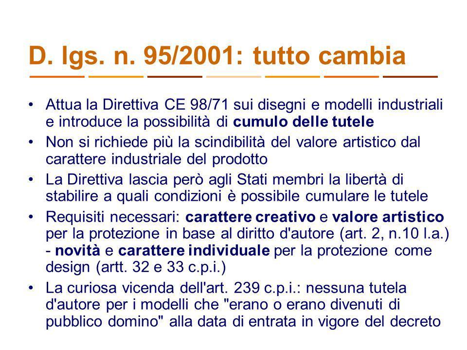 D. lgs. n. 95/2001: tutto cambia Attua la Direttiva CE 98/71 sui disegni e modelli industriali e introduce la possibilità di cumulo delle tutele Non s