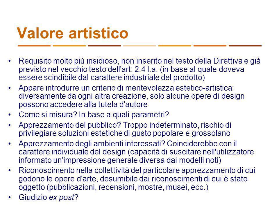 Valore artistico Requisito molto più insidioso, non inserito nel testo della Direttiva e già previsto nel vecchio testo dell'art. 2.4 l.a. (in base al