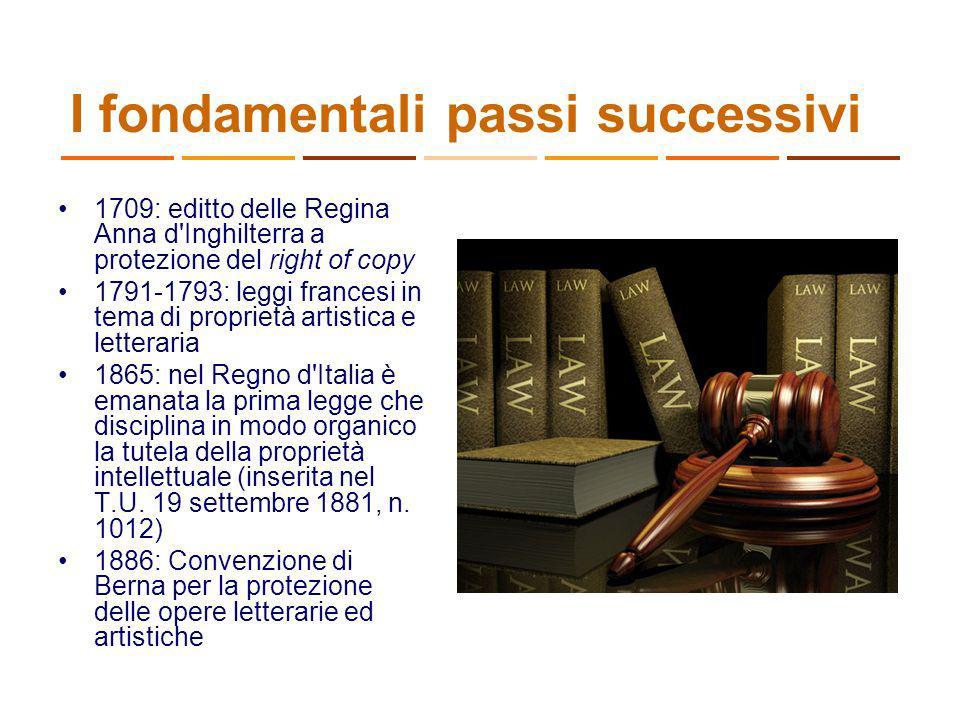 I fondamentali passi successivi 1709: editto delle Regina Anna d'Inghilterra a protezione del right of copy 1791-1793: leggi francesi in tema di propr