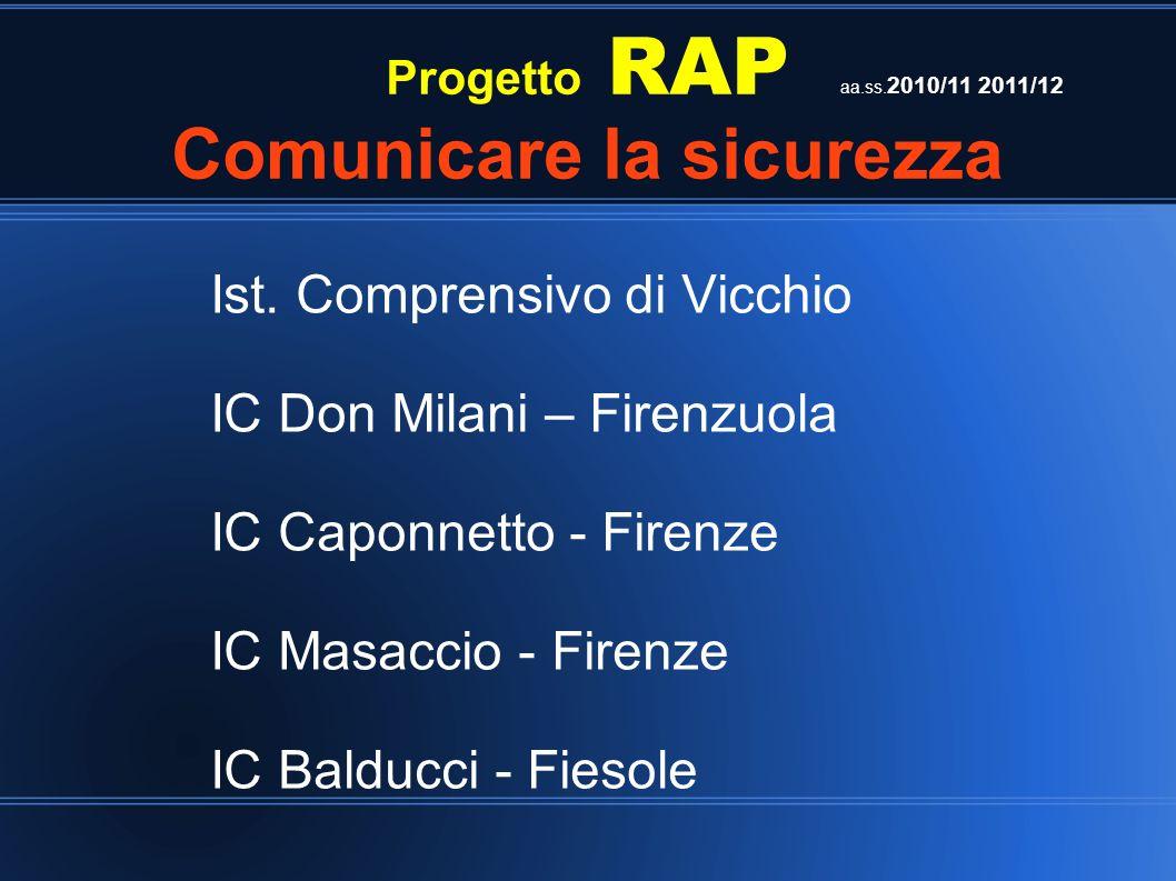 Progetto RAP Comunicare la sicurezza Ist. Comprensivo di Vicchio IC Don Milani – Firenzuola IC Caponnetto - Firenze IC Masaccio - Firenze IC Balducci