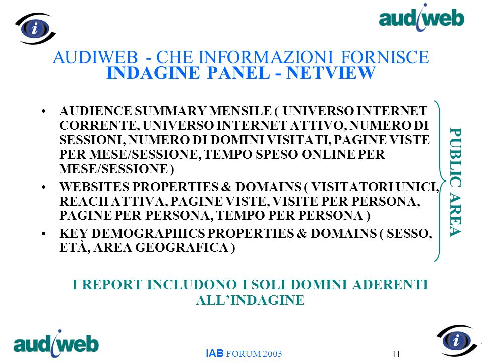 11 AUDIWEB - CHE INFORMAZIONI FORNISCE INDAGINE PANEL - NETVIEW AUDIENCE SUMMARY MENSILE ( UNIVERSO INTERNET CORRENTE, UNIVERSO INTERNET ATTIVO, NUMERO DI SESSIONI, NUMERO DI DOMINI VISITATI, PAGINE VISTE PER MESE/SESSIONE, TEMPO SPESO ONLINE PER MESE/SESSIONE ) WEBSITES PROPERTIES & DOMAINS ( VISITATORI UNICI, REACH ATTIVA, PAGINE VISTE, VISITE PER PERSONA, PAGINE PER PERSONA, TEMPO PER PERSONA ) KEY DEMOGRAPHICS PROPERTIES & DOMAINS ( SESSO, ETÀ, AREA GEOGRAFICA ) I REPORT INCLUDONO I SOLI DOMINI ADERENTI ALLINDAGINE IAB FORUM 2003 PUBLIC AREA