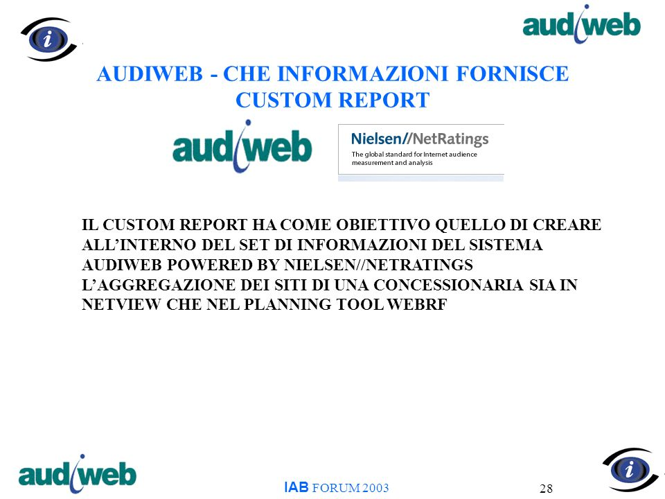 28 AUDIWEB - CHE INFORMAZIONI FORNISCE CUSTOM REPORT IAB FORUM 2003 IL CUSTOM REPORT HA COME OBIETTIVO QUELLO DI CREARE ALLINTERNO DEL SET DI INFORMAZIONI DEL SISTEMA AUDIWEB POWERED BY NIELSEN//NETRATINGS LAGGREGAZIONE DEI SITI DI UNA CONCESSIONARIA SIA IN NETVIEW CHE NEL PLANNING TOOL WEBRF
