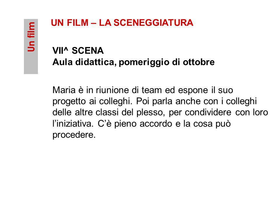 Un film UN FILM – LA SCENEGGIATURA VII^ SCENA Aula didattica, pomeriggio di ottobre Maria è in riunione di team ed espone il suo progetto ai colleghi.
