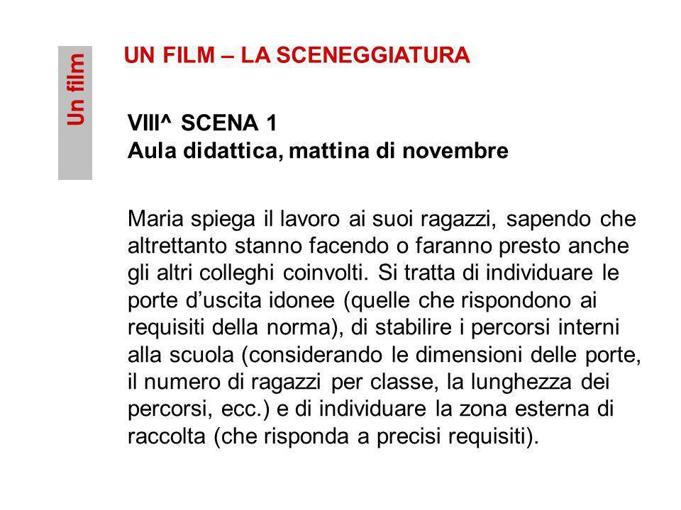 Un film UN FILM – LA SCENEGGIATURA VIII^ SCENA 1 Aula didattica, mattina di novembre Maria spiega il lavoro ai suoi ragazzi, sapendo che altrettanto s