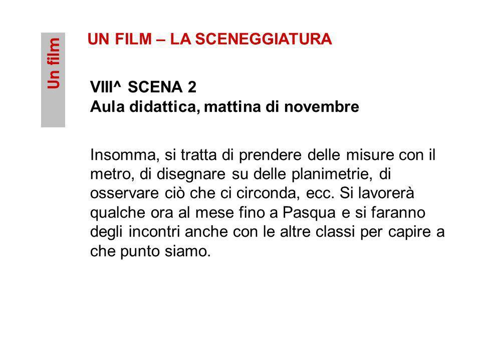 Un film UN FILM – LA SCENEGGIATURA VIII^ SCENA 2 Aula didattica, mattina di novembre Insomma, si tratta di prendere delle misure con il metro, di dise