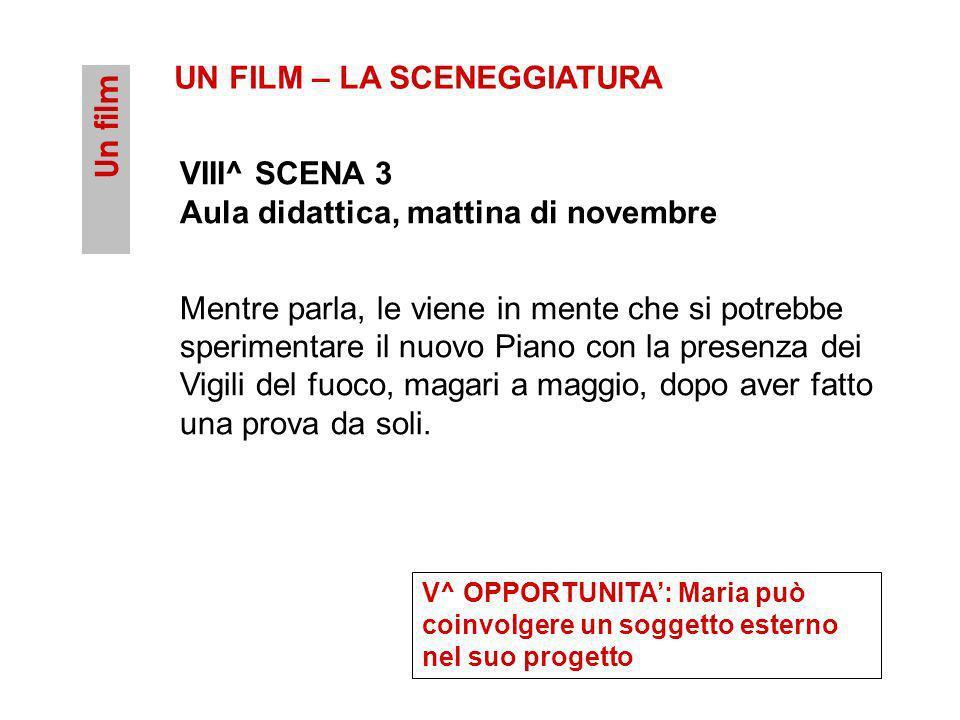 Un film UN FILM – LA SCENEGGIATURA VIII^ SCENA 3 Aula didattica, mattina di novembre Mentre parla, le viene in mente che si potrebbe sperimentare il n