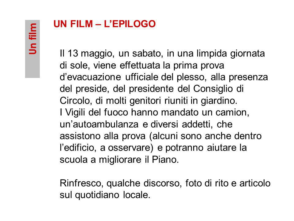 Un film UN FILM – LEPILOGO Il 13 maggio, un sabato, in una limpida giornata di sole, viene effettuata la prima prova devacuazione ufficiale del plesso