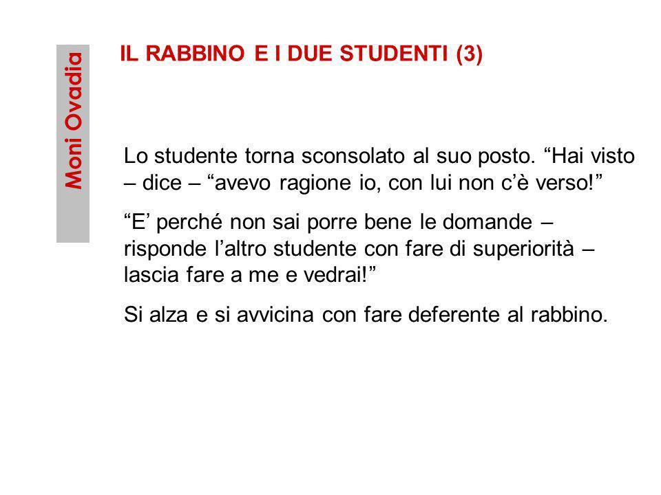 Moni Ovadia IL RABBINO E I DUE STUDENTI (3) Lo studente torna sconsolato al suo posto. Hai visto – dice – avevo ragione io, con lui non cè verso! E pe