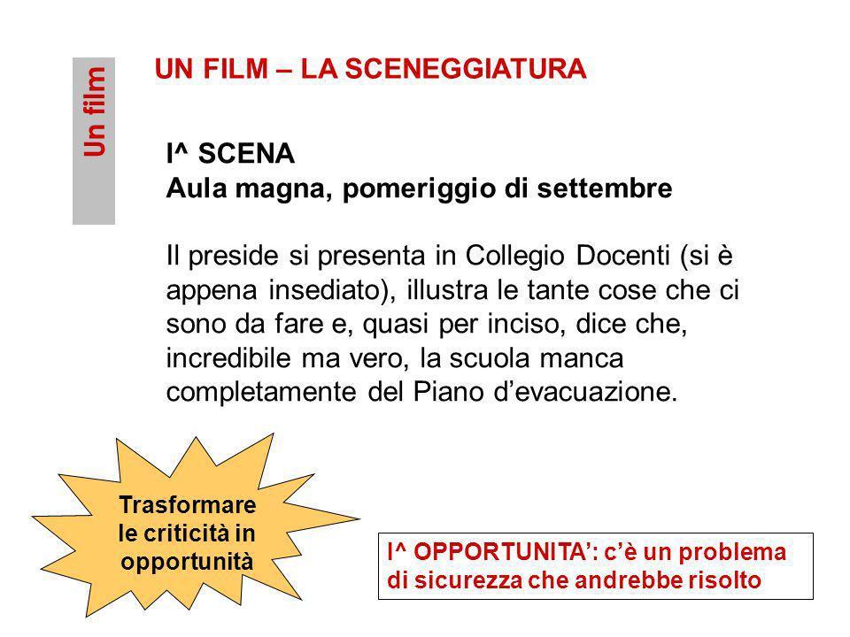 Un film UN FILM – LA SCENEGGIATURA I^ SCENA Aula magna, pomeriggio di settembre Il preside si presenta in Collegio Docenti (si è appena insediato), il