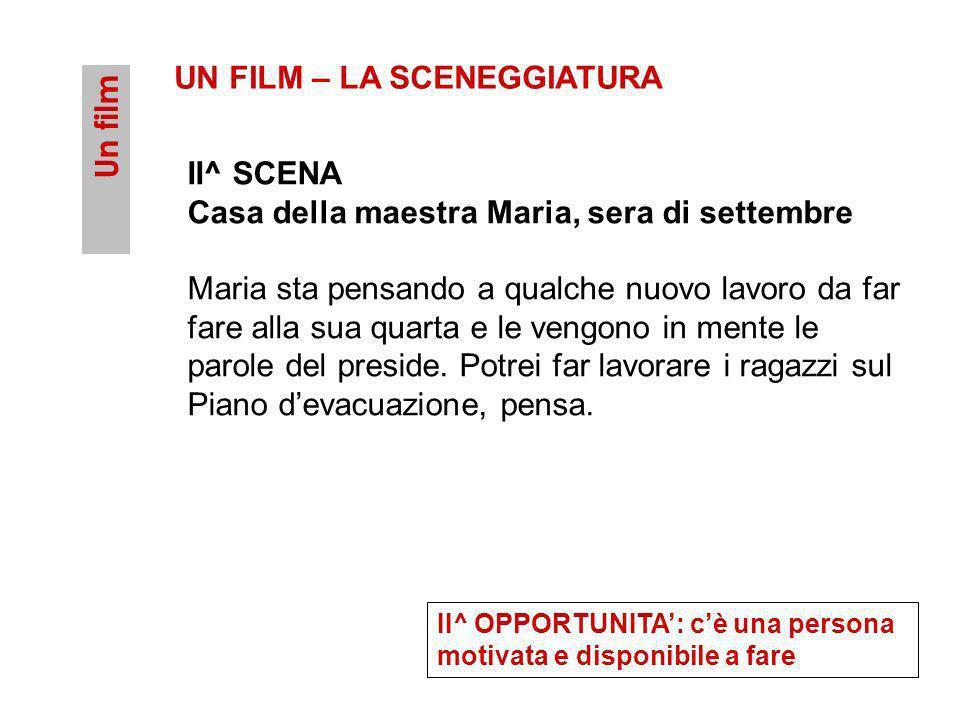 Un film UN FILM – LA SCENEGGIATURA II^ SCENA Casa della maestra Maria, sera di settembre Maria sta pensando a qualche nuovo lavoro da far fare alla su