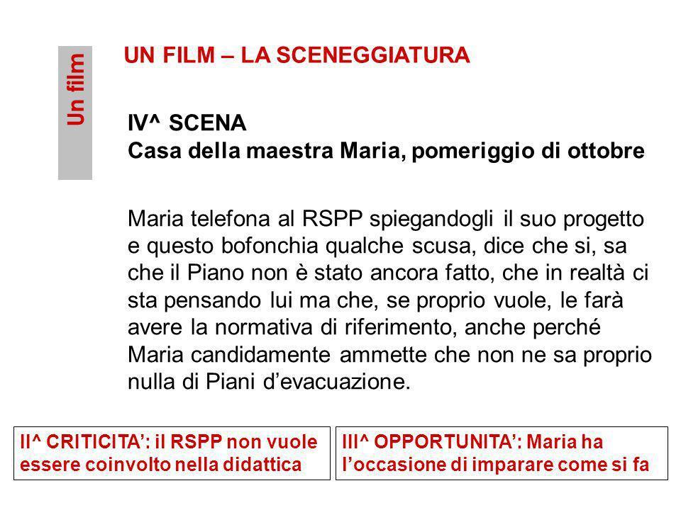 Un film UN FILM – LA SCENEGGIATURA IV^ SCENA Casa della maestra Maria, pomeriggio di ottobre Maria telefona al RSPP spiegandogli il suo progetto e que