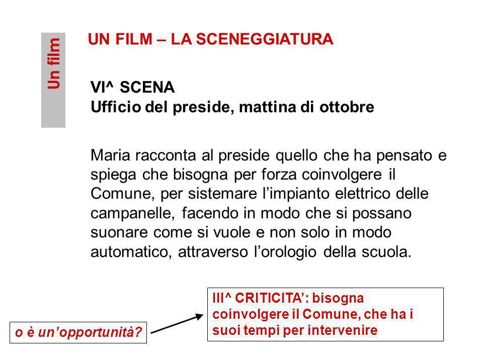 Un film UN FILM – LA SCENEGGIATURA VI^ SCENA Ufficio del preside, mattina di ottobre Maria racconta al preside quello che ha pensato e spiega che biso