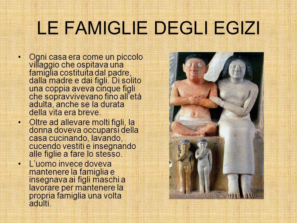 LE FAMIGLIE DEGLI EGIZI Ogni casa era come un piccolo villaggio che ospitava una famiglia costituita dal padre, dalla madre e dai figli.