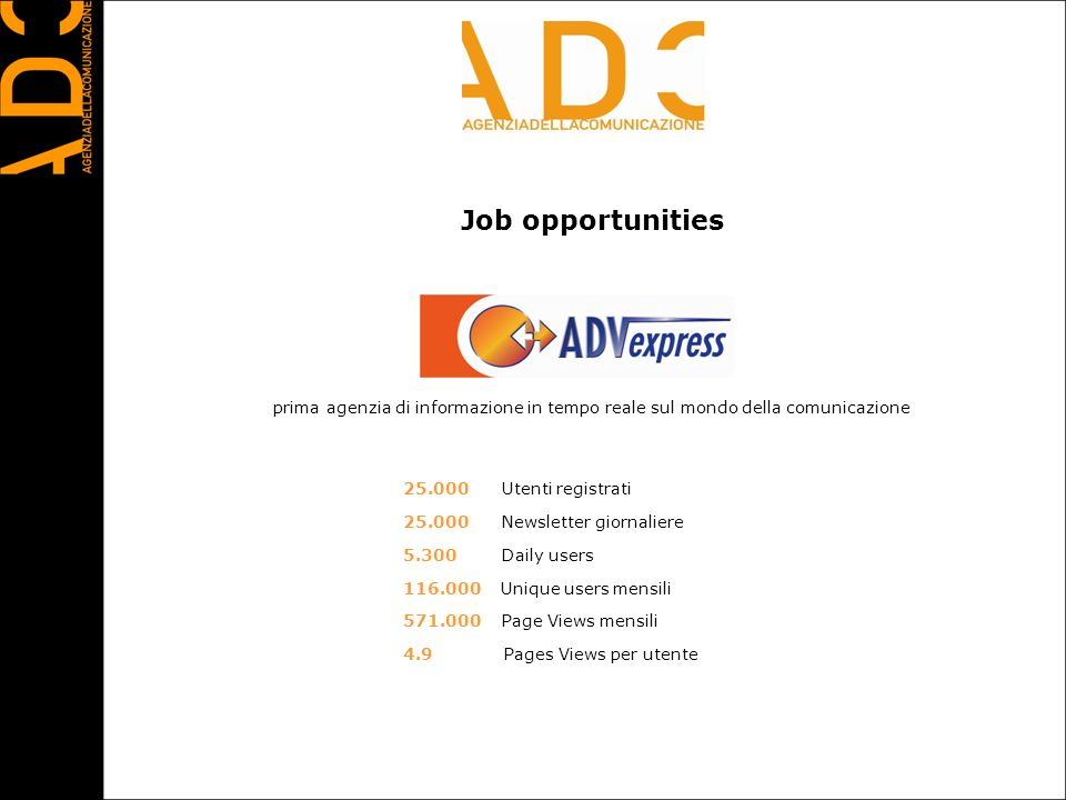 Job opportunities 25.000 Utenti registrati 25.000 Newsletter giornaliere 5.300 Daily users 116.000 Unique users mensili 571.000 Page Views mensili 4.9