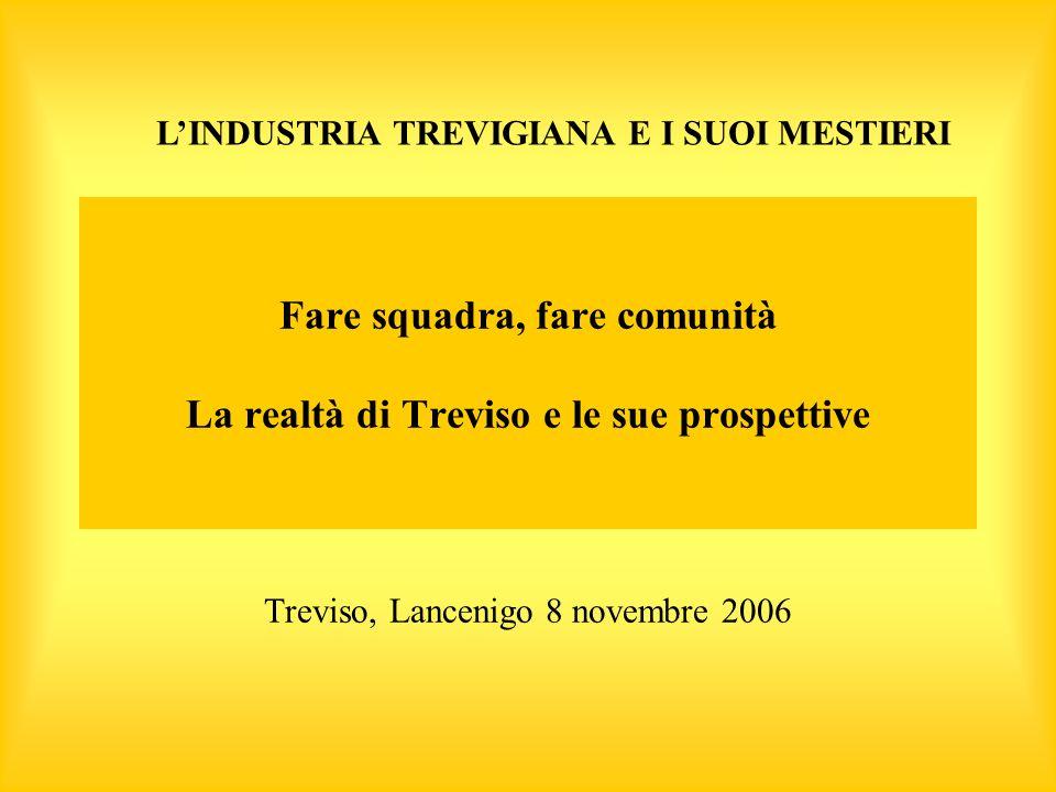 Fare squadra, fare comunità La realtà di Treviso e le sue prospettive Treviso, Lancenigo 8 novembre 2006 LINDUSTRIA TREVIGIANA E I SUOI MESTIERI