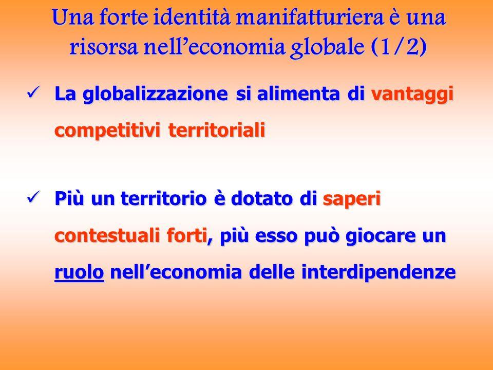 Una forte identità manifatturiera è una risorsa nelleconomia globale (1/2) La globalizzazione si alimenta di vantaggi competitivi territoriali La glob
