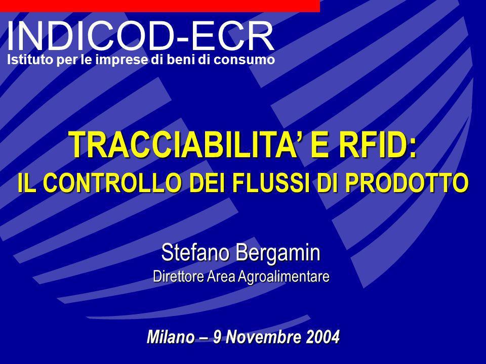 INDICOD-ECR Istituto per le imprese di beni di consumo TRACCIABILITA E RFID: IL CONTROLLO DEI FLUSSI DI PRODOTTO Stefano Bergamin Direttore Area Agroalimentare Milano – 9 Novembre 2004