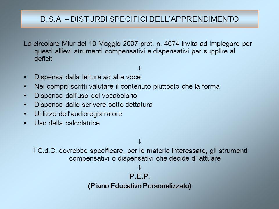 La circolare Miur del 10 Maggio 2007 prot. n. 4674 invita ad impiegare per questi allievi strumenti compensativi e dispensativi per supplire al defici