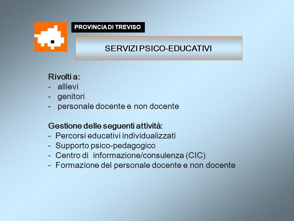 Rivolti a: - allievi - genitori - personale docente e non docente Gestione delle seguenti attività: - Percorsi educativi individualizzati - Supporto p
