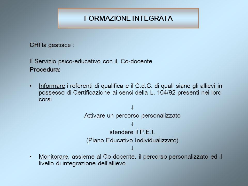 FORMAZIONE INTEGRATA CHI la gestisce : Il Servizio psico-educativo con il Co-docente Procedura: Informare i referenti di qualifica e il C.d.C. di qual