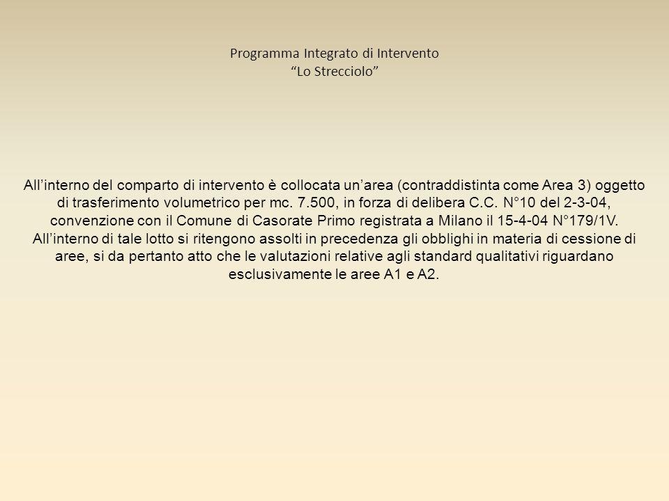 Programma Integrato di Intervento Lo Strecciolo Allinterno del comparto di intervento è collocata unarea (contraddistinta come Area 3) oggetto di tras