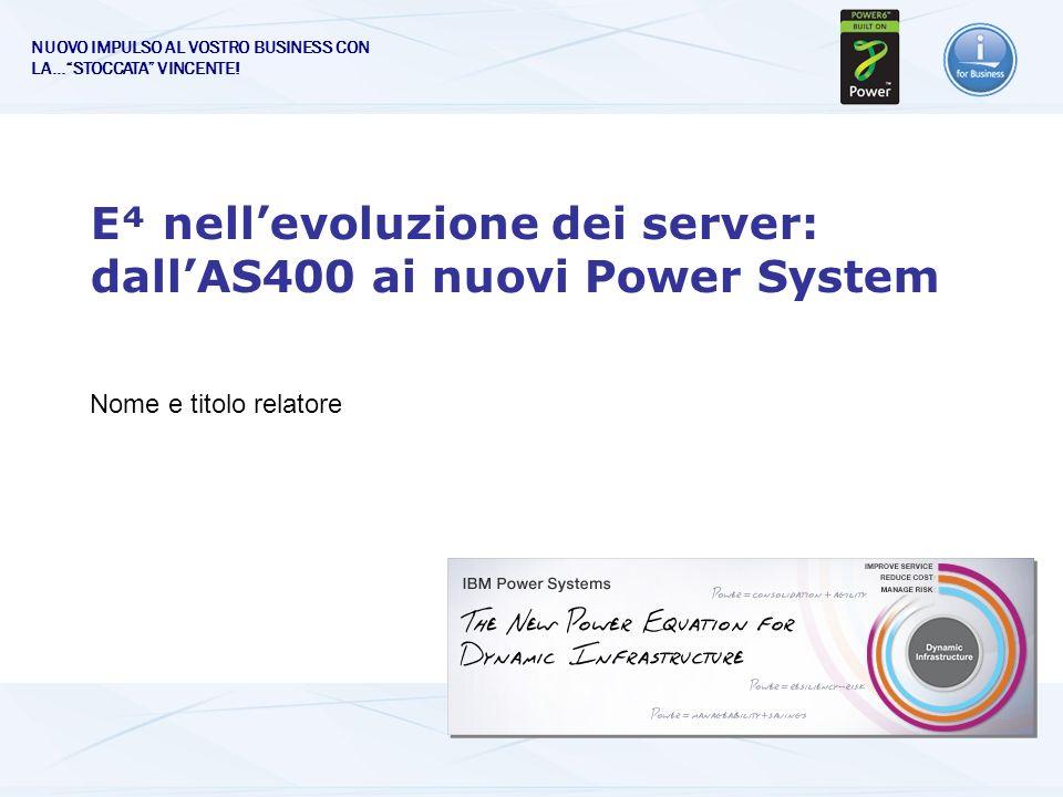 E nellevoluzione dei server: dallAS400 ai nuovi Power System Nome e titolo relatore NUOVO IMPULSO AL VOSTRO BUSINESS CON LA…STOCCATA VINCENTE!