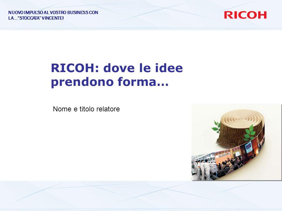 RICOH: dove le idee prendono forma… Nome e titolo relatore NUOVO IMPULSO AL VOSTRO BUSINESS CON LA…STOCCATA VINCENTE!