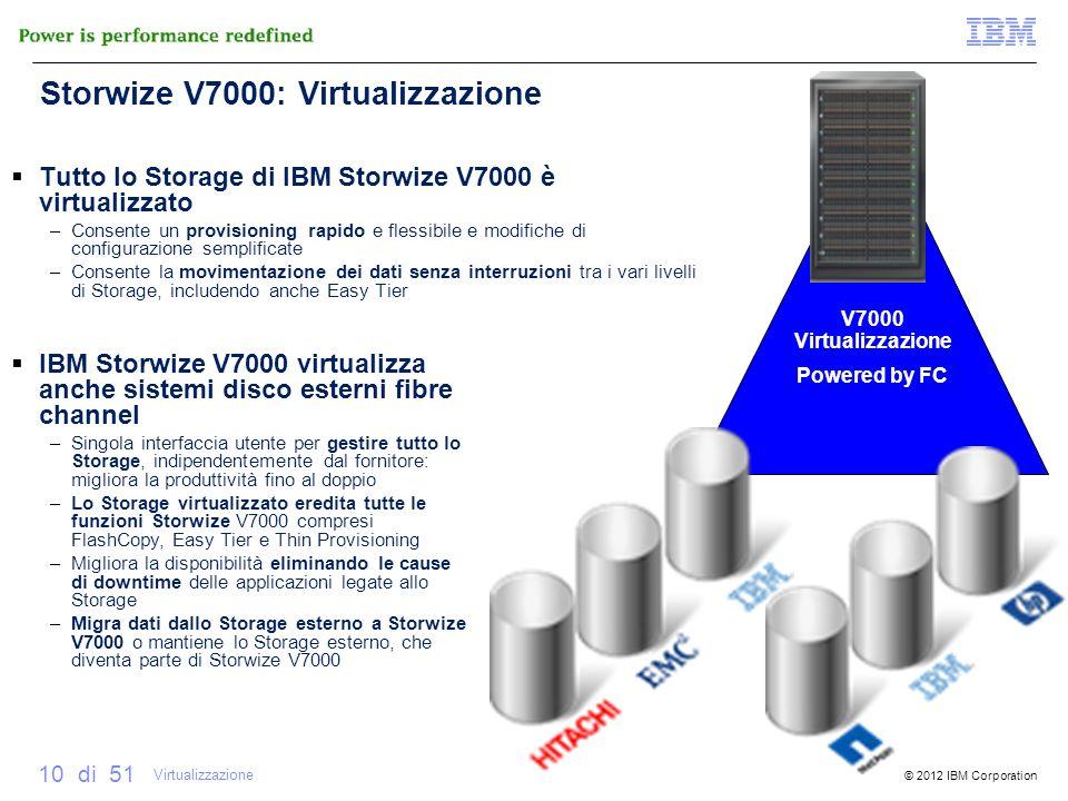 © 2012 IBM Corporation 10 di 51 V7000 Virtualizzazione Powered by FC Storwize V7000: Virtualizzazione Tutto lo Storage di IBM Storwize V7000 è virtual