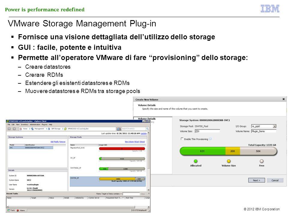 © 2012 IBM Corporation 12 di 51 VMware Storage Management Plug-in Fornisce una visione dettagliata dellutilizzo dello storage GUI : facile, potente e