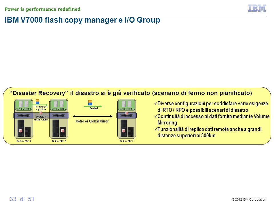 © 2012 IBM Corporation 33 di 51 V7000 Global Mirror Disaster Recovery il disastro si è già verificato (scenario di fermo non pianificato) Metro or Glo
