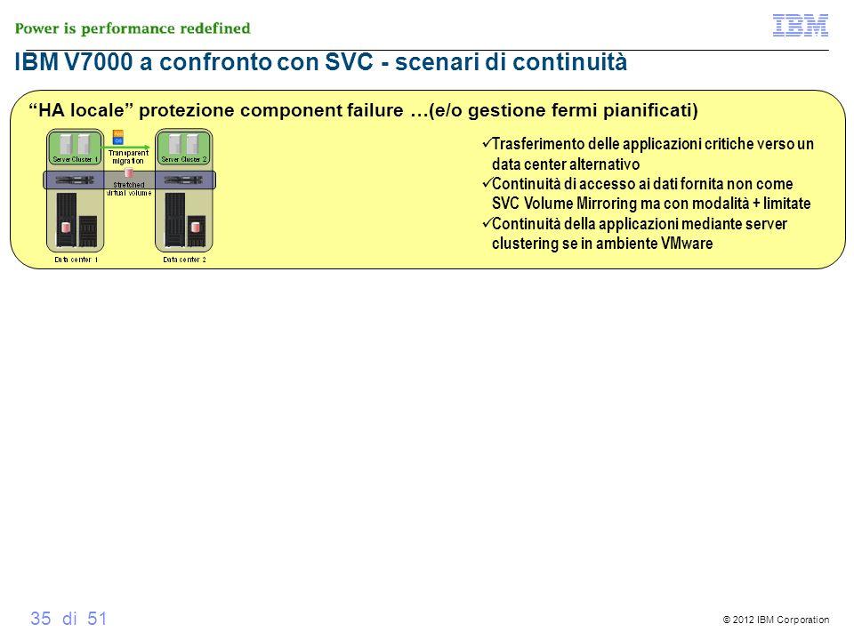 © 2012 IBM Corporation 35 di 51 IBM V7000 a confronto con SVC - scenari di continuità V7000 Metro Mirror HA locale protezione component failure …(e/o