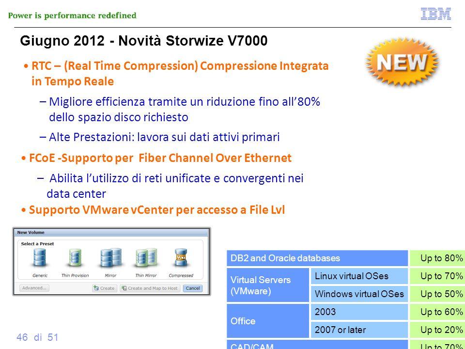© 2012 IBM Corporation 46 di 51 RTC – (Real Time Compression) Compressione Integrata in Tempo Reale –Migliore efficienza tramite un riduzione fino all