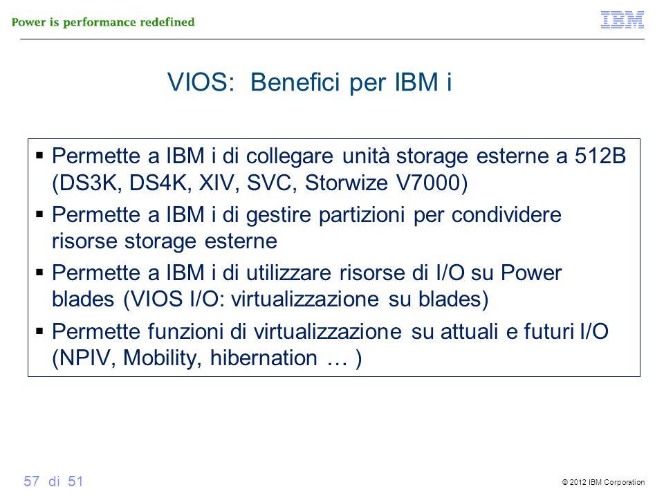 © 2012 IBM Corporation 57 di 51 VIOS: Benefici per IBM i Permette a IBM i di collegare unità storage esterne a 512B (DS3K, DS4K, XIV, SVC, Storwize V7