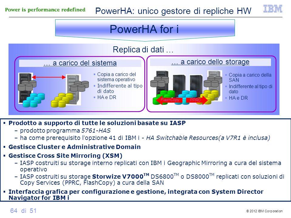 © 2012 IBM Corporation 64 di 51 Copia a carico del sistema operativo Indifferente al tipo di dato HA e DR … a carico del sistema Replica di dati … Cop