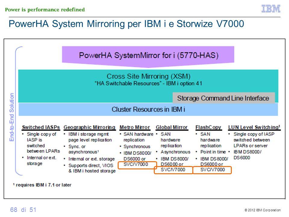 © 2012 IBM Corporation 68 di 51 PowerHA System Mirroring per IBM i e Storwize V7000