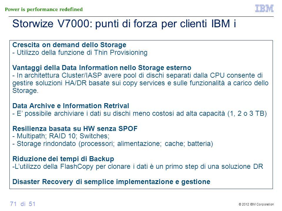© 2012 IBM Corporation 71 di 51 Crescita on demand dello Storage - Utilizzo della funzione di Thin Provisioning Vantaggi della Data Information nello