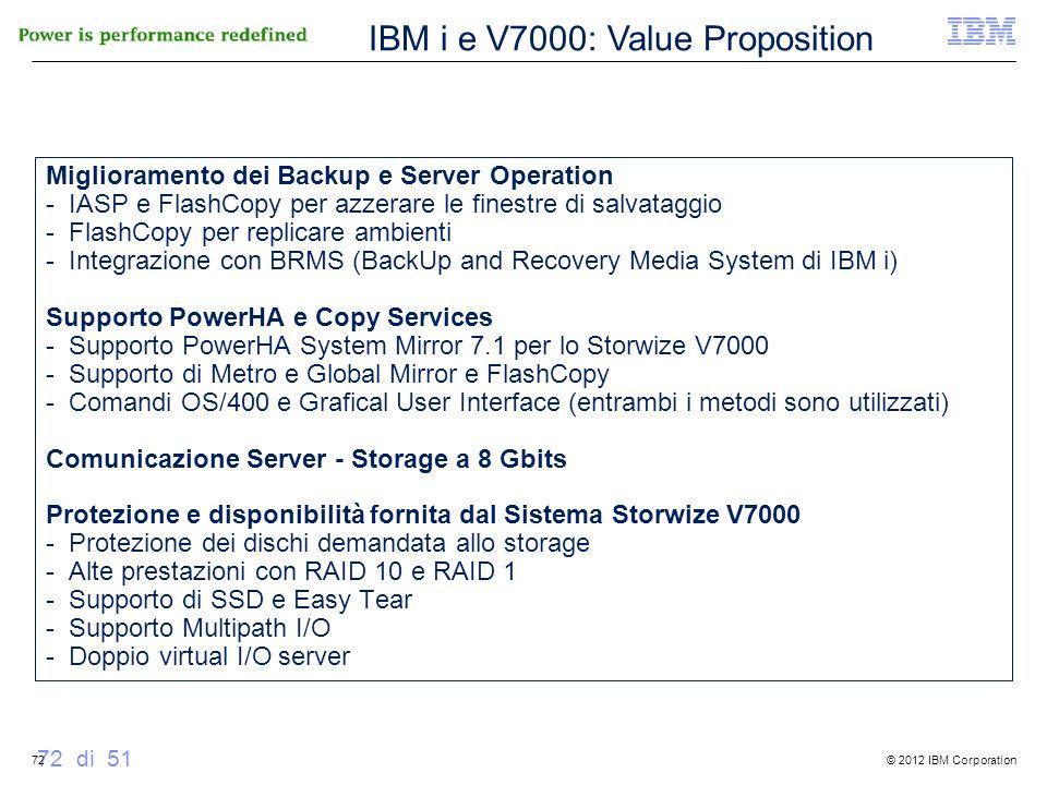 © 2012 IBM Corporation 72 di 51 Miglioramento dei Backup e Server Operation - IASP e FlashCopy per azzerare le finestre di salvataggio - FlashCopy per