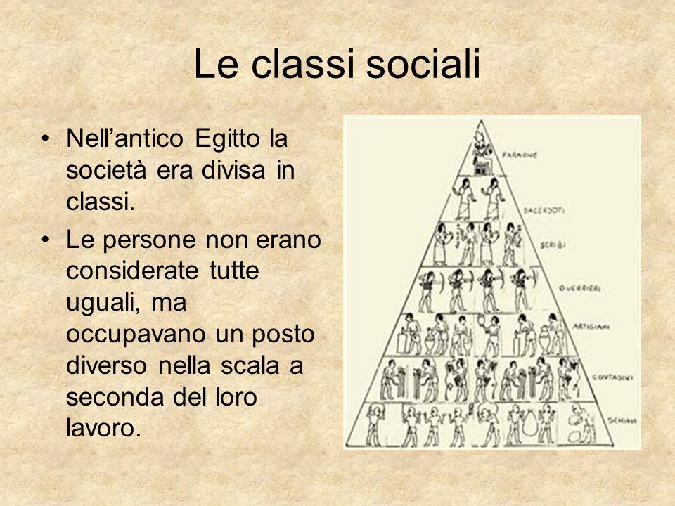 Le classi sociali Nellantico Egitto la società era divisa in classi. Le persone non erano considerate tutte uguali, ma occupavano un posto diverso nel