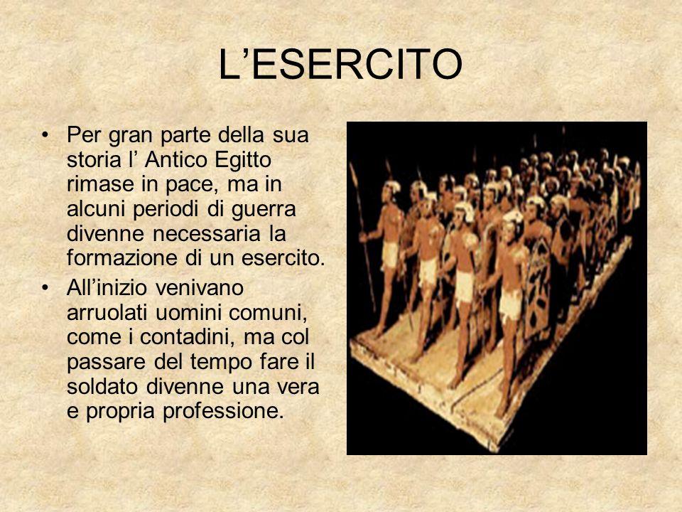 LESERCITO Per gran parte della sua storia l Antico Egitto rimase in pace, ma in alcuni periodi di guerra divenne necessaria la formazione di un eserci