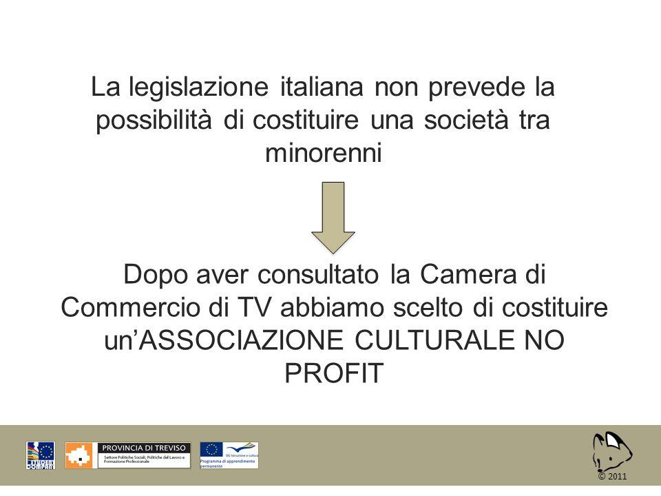 La legislazione italiana non prevede la possibilità di costituire una società tra minorenni Dopo aver consultato la Camera di Commercio di TV abbiamo
