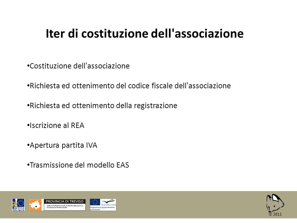 Iter di costituzione dell'associazione Costituzione dellassociazione Richiesta ed ottenimento del codice fiscale dellassociazione Richiesta ed ottenim